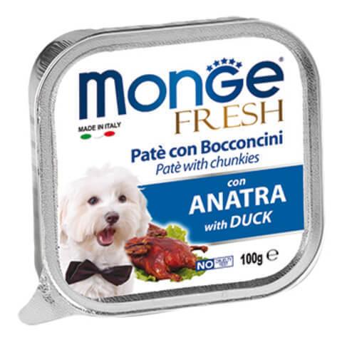 купить консервы Monge Fresh with Duck Паштет из мяса утки для взрослых собак всех пород