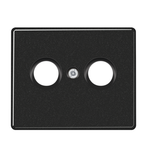 Накладка  двойная для антенных розеток. Цвет Чёрный. JUNG SL. SL561TVSW