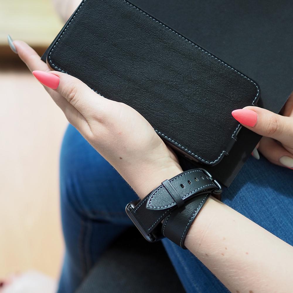 Ремешок для Apple Watch 42мм ST Double Strap из натуральной кожи теленка, черного цвета