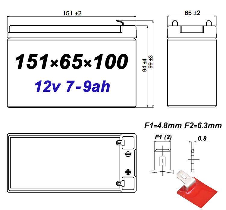Размеры герметичного свинцово-кислотного аккумулятора 7АЧ