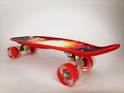 Скейтборд Граффити со светящимися колесами красный