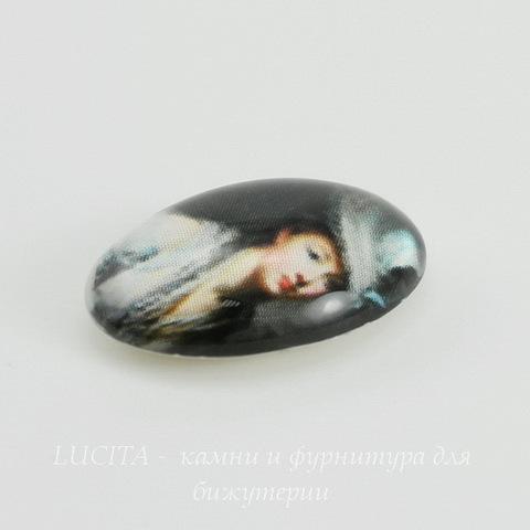 """Кабошон стеклянный """"Дама в шляпе"""" 18х13х6 мм ()"""