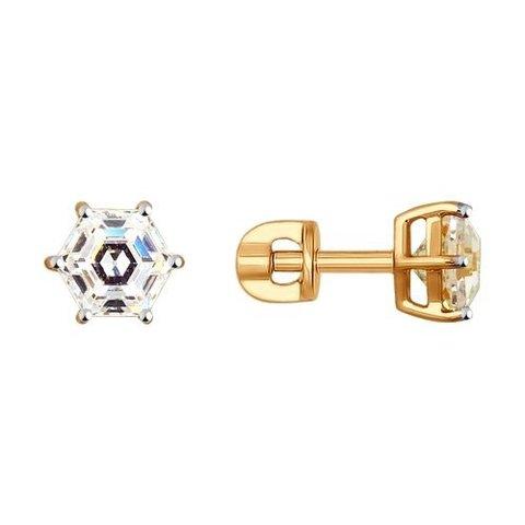 81020317 - Классические пусеты из золота с фианитами Swarovski