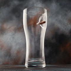 Пивной бокал с пулей «Real bullet»  крафт, 500 мл, фото 1