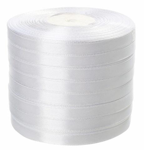 Лента атласная (размер: 10 мм х 50 ярд) Цвет: белая