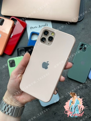 Чехол iPhone 11 Pro Max Glass Pastel color Logo /pink sand/