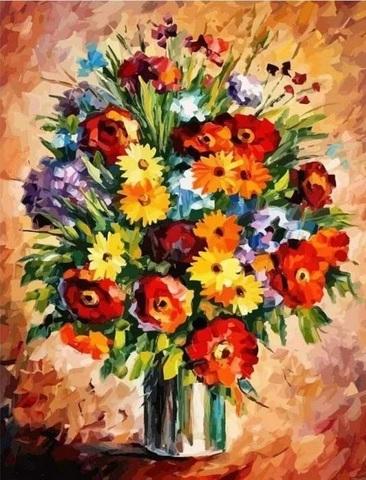 Картина раскраска по номерам 40x50 Яркий полевой букет (арт. ТС3309)