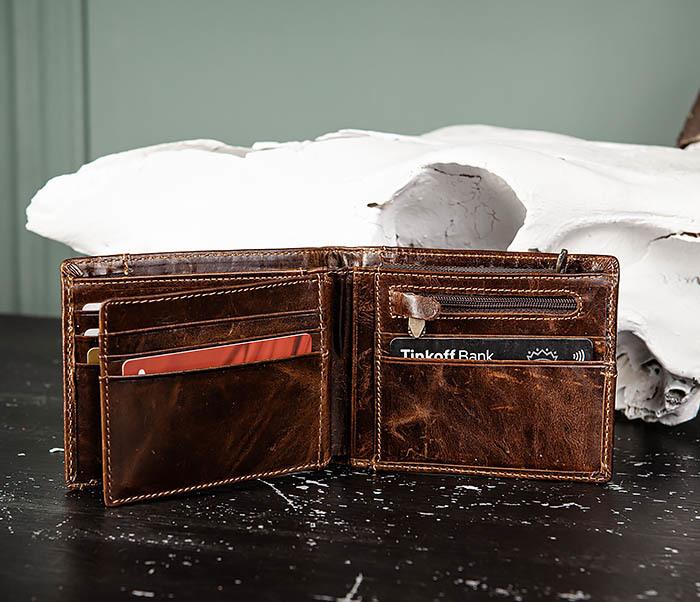 WL329-2 Вместительное мужское кожаное портмоне с монетницей фото 08