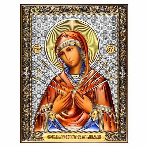 Серебряная икона Богоматерь Семистрельная. Цветной лак