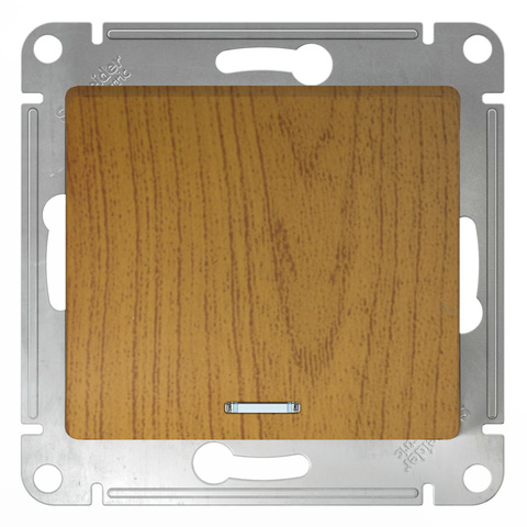 Выключатель одноклавишный с подсветкой, 10АХ. Цвет Дуб. Schneider Electric Glossa. GSL000513