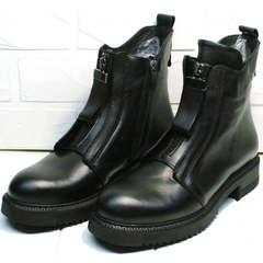 Черные кожаные ботинки женские осень Tina Shoes 292-01 Black.