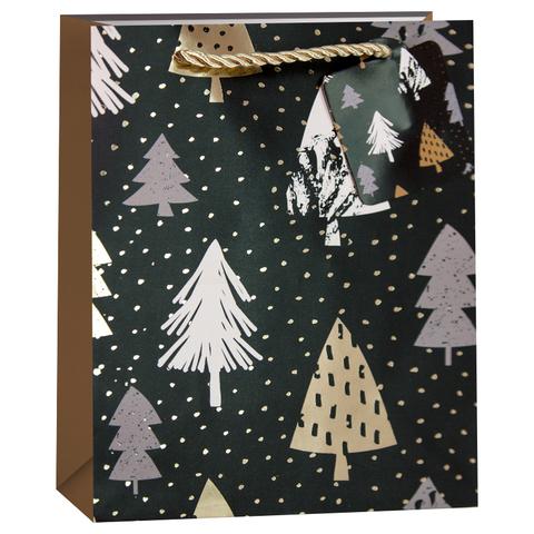 Пакет подарочный, Стильные елочки, Черный/Золото, 32*26*13 см