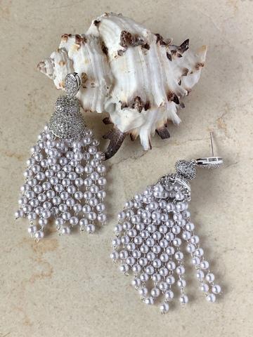 Серьги Жозефина, серебряный цвет