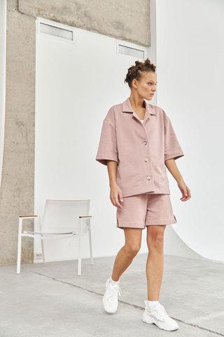 Рубашка с коротким рукавом цвета розового латте