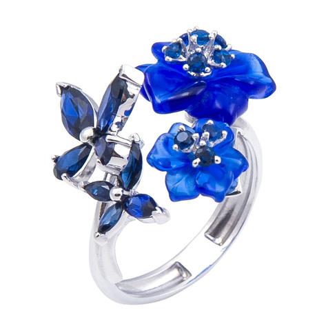Кольцо с цветами из кварца и сапфиром Арт. 1168сс