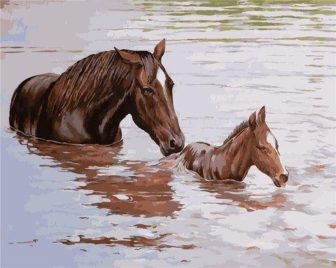 Картина раскраска по номерам 40x50 Лошади сплавляются через реку