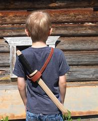 Перевязь на пояс для детских мечей из кожи