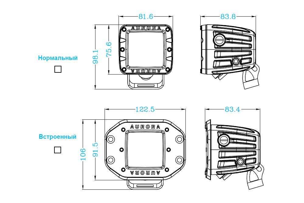 Светодиодная LED фара врезная рабочего света 40 Вт Аврора