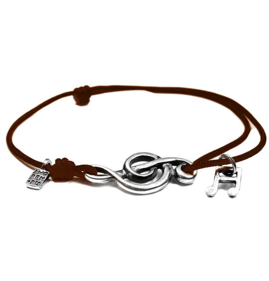 Treble clef bracelet, sterling silver