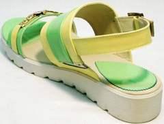 Яркие босоножки сандали на белой подошве Crisma 784 Yellow Green