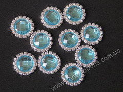 Камни круглые в стразовом обрамлении голубые