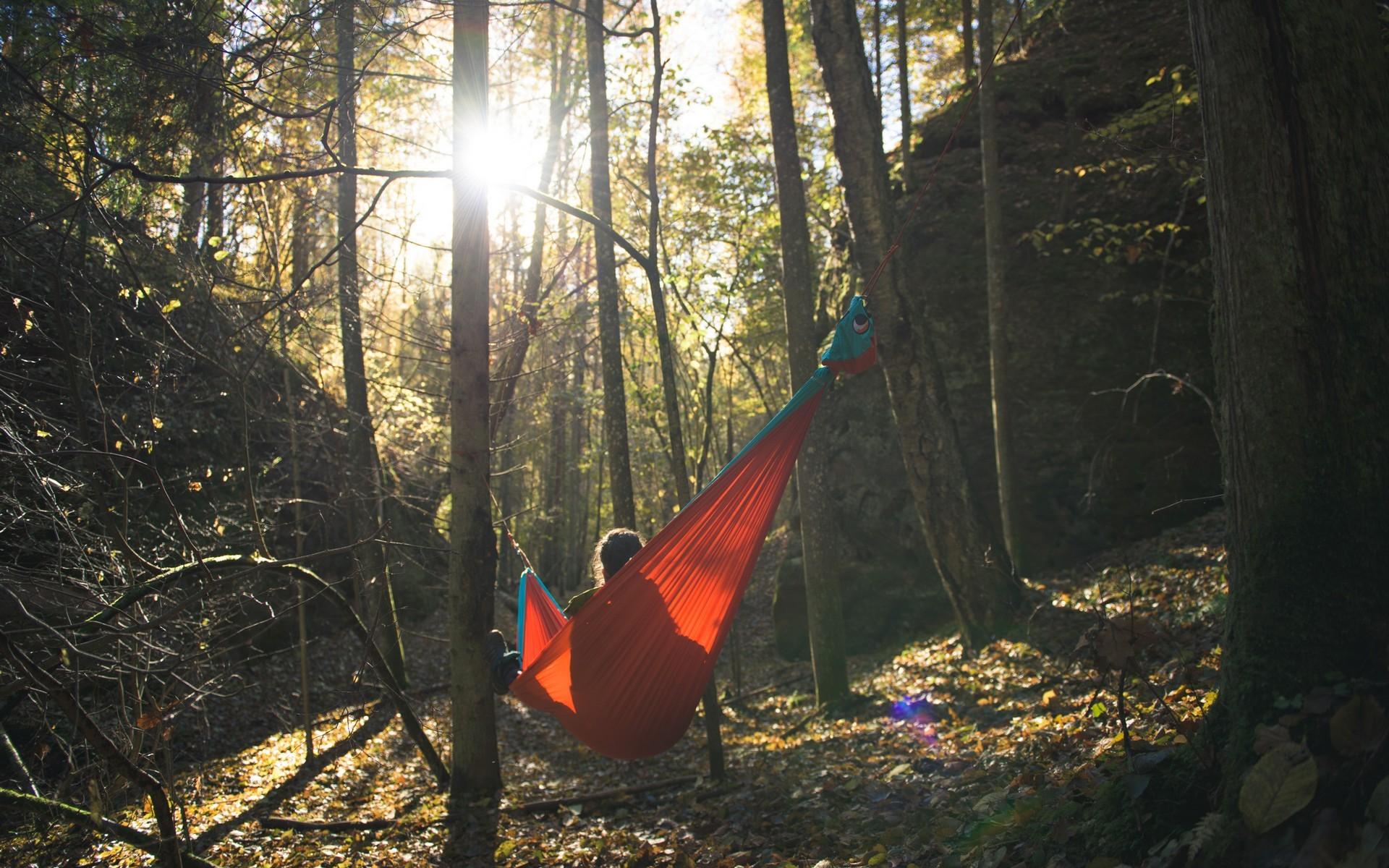 Релакс в лесу в гамаке.