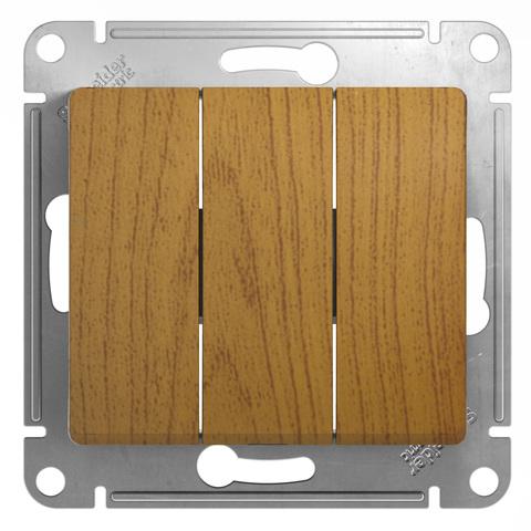 Выключатель трехклавишный, 10АХ. Цвет Дуб. Schneider Electric Glossa. GSL000531