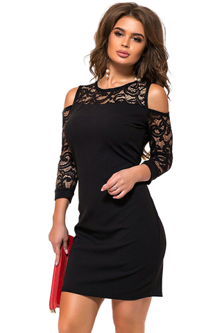 Короткое платье с кружевными рукавами, черное