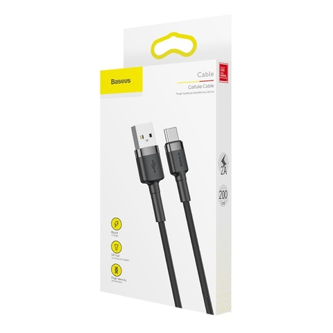 Кабель Baseus cafule Cable USB For Type-C 2A 2M Gray+Black