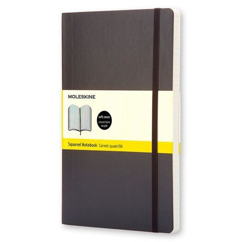 Блокнот Moleskine CLASSIC SOFT QP617 Large 130х210мм 192стр. клетка мягкая обложка черный