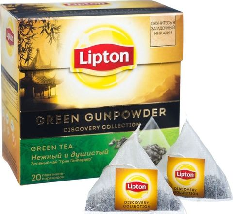 Чай зеленый Lipton Gunpowder  20 пирамидок