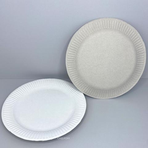 Тарелка бумажная круглая d19 см (100 шт.) серая