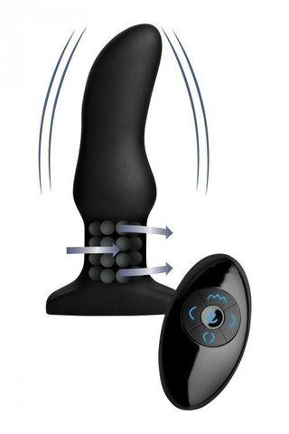 Черная вибропробка Model M Curved Rimming Plug with Remote - 15 см.