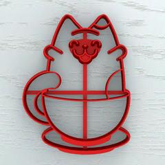 Кот в чашке №1