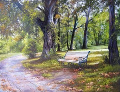 Картина раскраска по номерам 40x50 Скамейка среди деревьев
