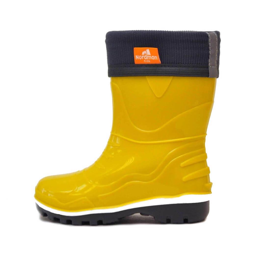 Детские резиновые сапоги с флисовым утеплителем Nordman Step желтые