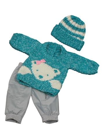Вязаный комплект - Мята. Одежда для кукол, пупсов и мягких игрушек.