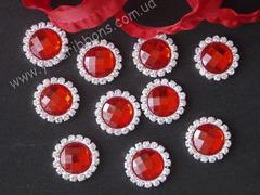Камни круглые в стразовом обрамлении красные