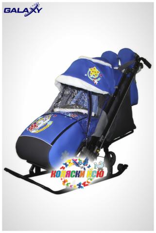 Санки коляска GALAXY KIDS 1-2 «синий - серый зайка»