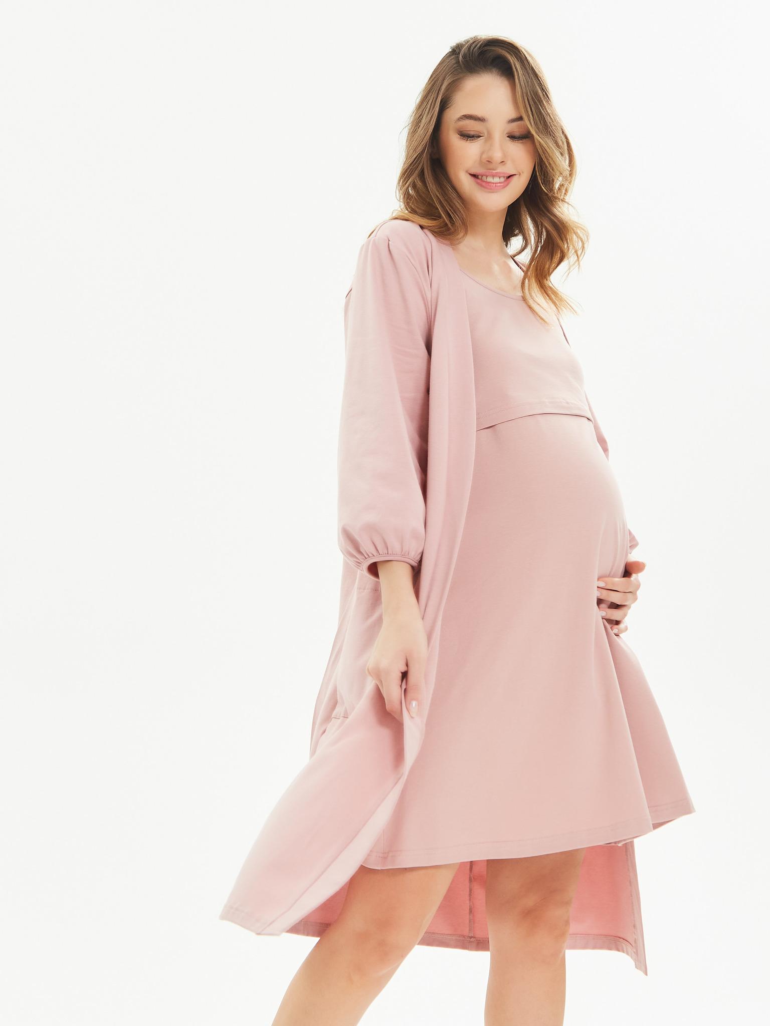 Chic mama Комплект для роддома: халат на запах с поясом и сорочка на тонких бретелях с секретом для кормления