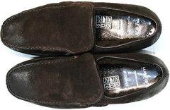 Мужские кожаные мокасины зимние Welfare 555841 Dark Brown Nubuk & Fur.