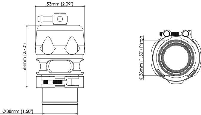 Размеры Блоу офф Turbosmart Vee Port PRO