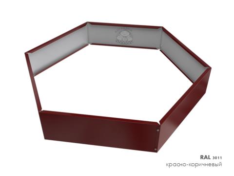 Клумба многоугольная оцинкованная 1 ярус RAL 3011 Красно-коричневый