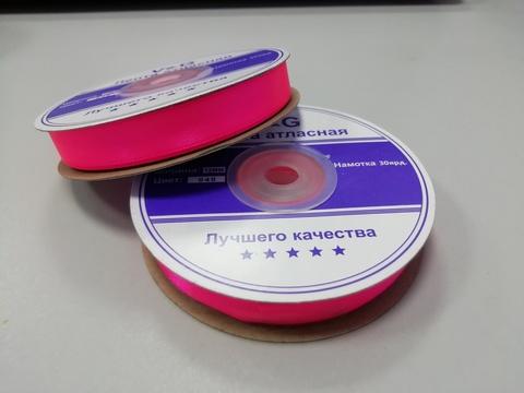Лента атласная Ярко-Розовая 12 мм, 27м