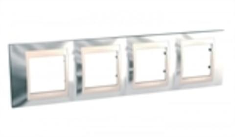 Рамка на 4 поста. Цвет Серебро/Бежевый. Schneider electric Unica Хамелеон. MGU66.008.510