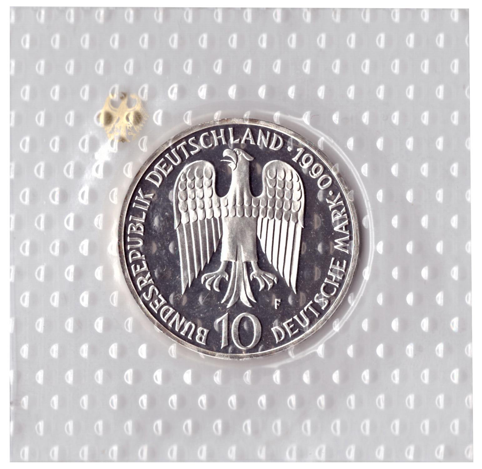 10 марок 1990 год (F) 800 лет со дня смерти Фридриха I Барбаросса, Германия. PROOF в родной запайке