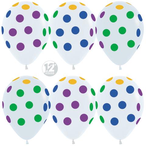 шары белые разноцветные точки неон флюорисцентные