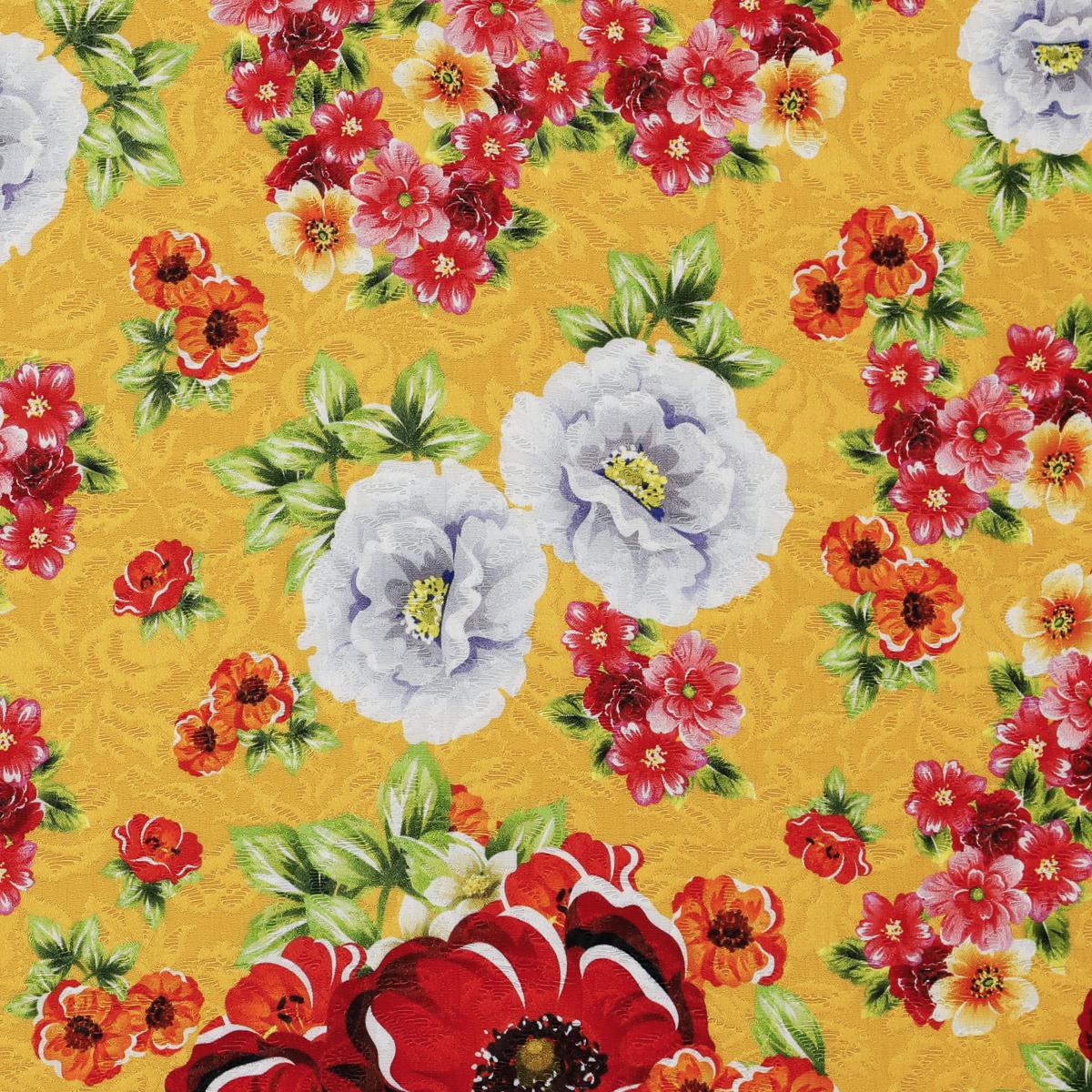 Хлопковое матлассе с шёлком, красные цветы на ярком апельсиновом