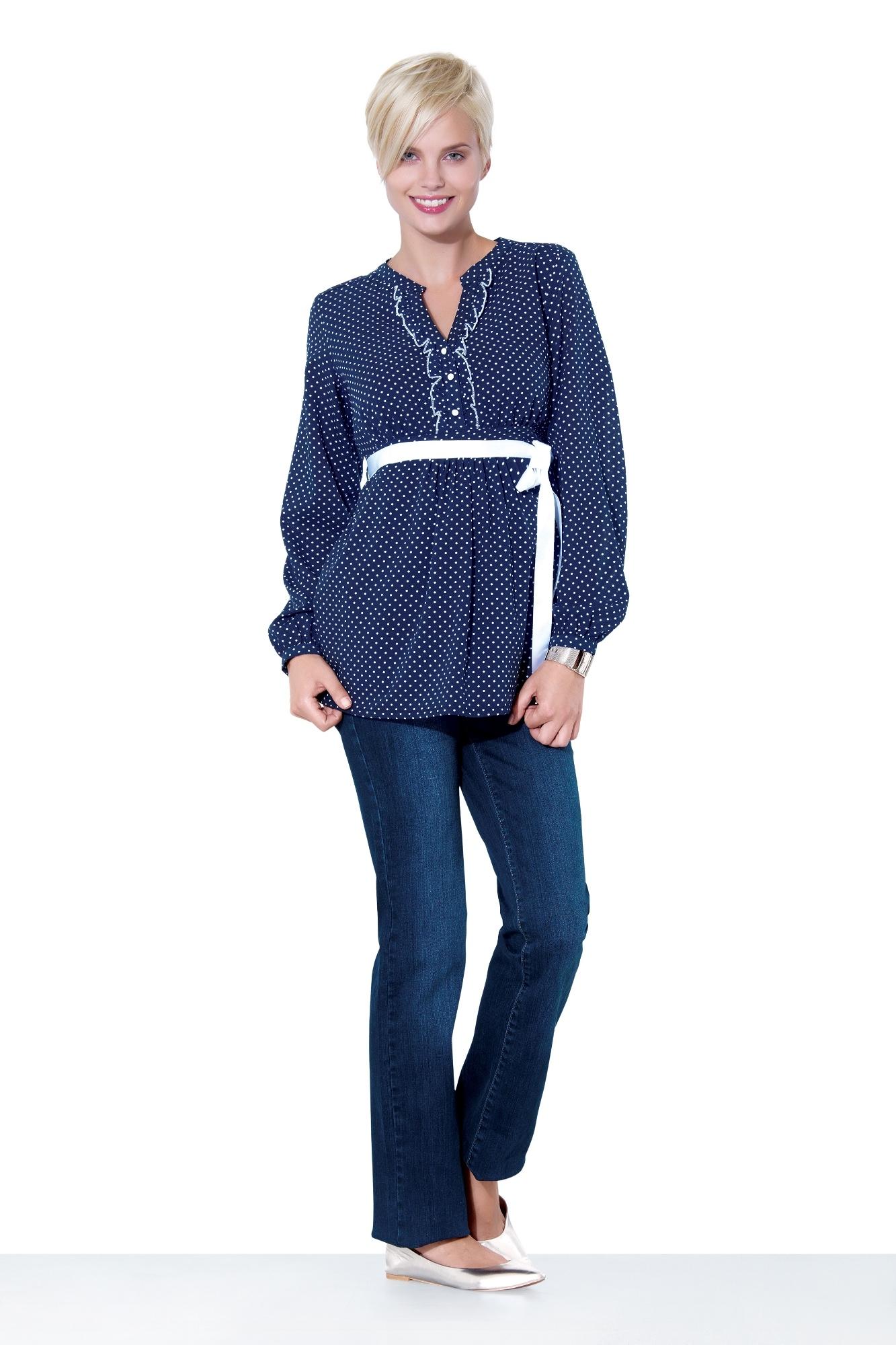 Фото джинсы для беременных (REGULAR) EBRU, средняя посадка, трикотажная вставка от магазина СкороМама, синий, размеры.