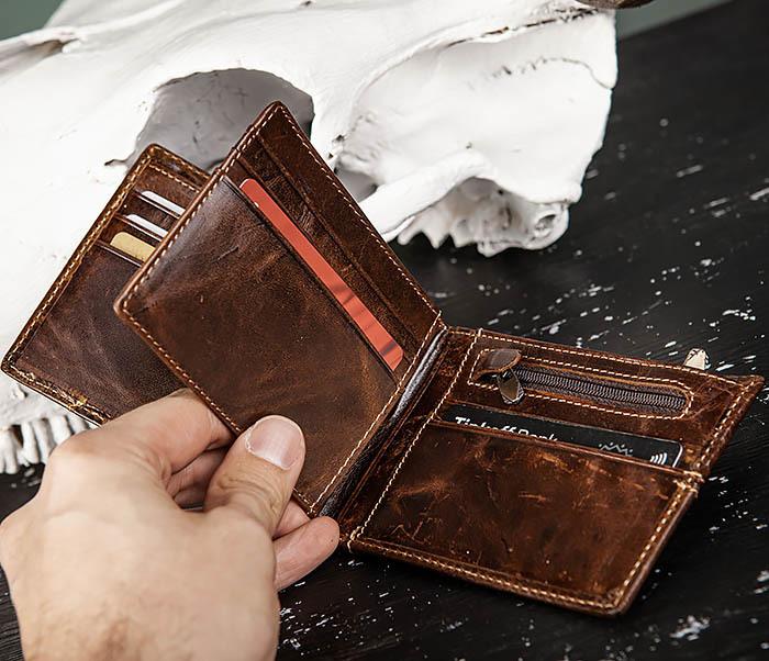WL329-2 Вместительное мужское кожаное портмоне с монетницей фото 09
